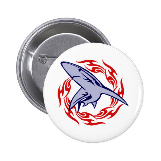 Flames and Shark Button