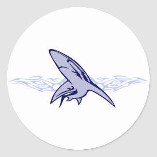 Flames and Shark Classic Round Sticker