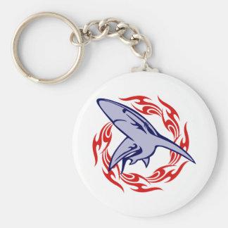 Flames and Shark Keychain