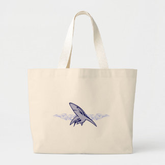 Flames and Shark Large Tote Bag