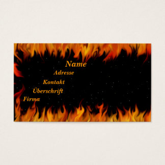 Flames at the starlit sky business card