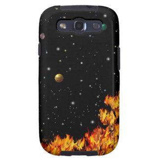 Flames at the starlit sky galaxy s3 fundas