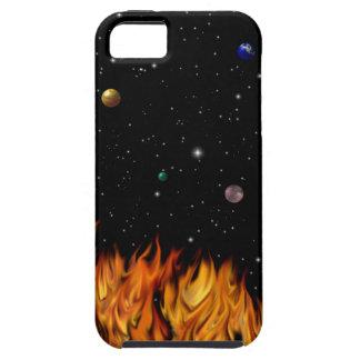 Flames at the starlit sky iPhone 5 carcasas