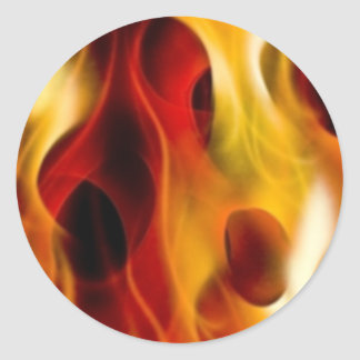 Flames Classic Round Sticker