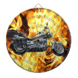 Flames & Cool Motorbike Power Machine Rider Gear Dartboard With Darts