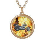 Flames & Cool Motorbike Power Machine Rider Gear Necklace