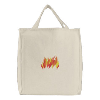 Flames Embroidered Tote Bag