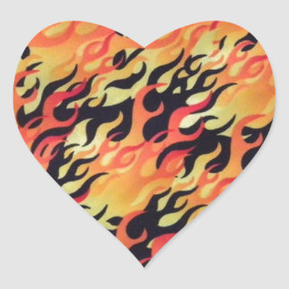 Flames Fire Customize add Name or Text Heart Sticker