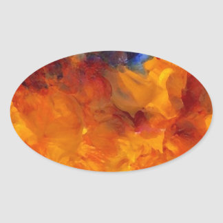 Flames Fire Designer Dramatic Flames Design Oval Stickers