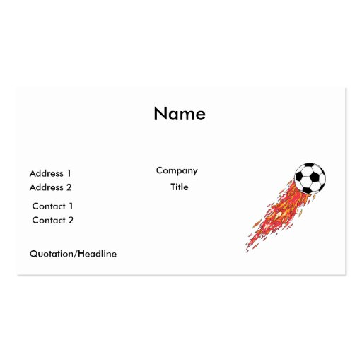 flames fire soccer ball Double-Sided standard business cards (Pack of 100)
