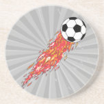 flames fire soccer ball drink coasters