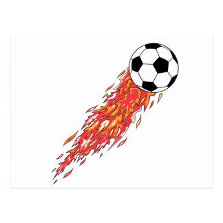 flames fire soccer ball postcard