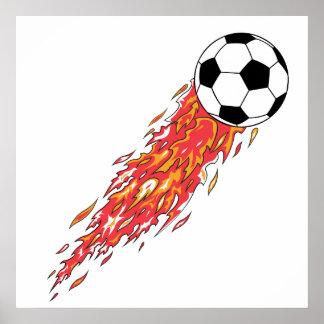 flames fire soccer ball poster