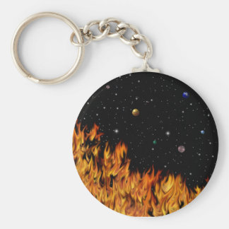 Flames - fires at the starlit sky basic round button keychain