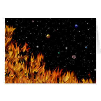 Flames - fires at the starlit sky card