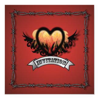 "Flames Heart Rock N Roll Biker Wedding Invitation 5.25"" Square Invitation Card"