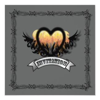 Flames Heart Rock N Roll Biker Wedding Invitation