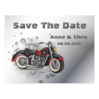 Flames Heart Rock N Roll Biker WeddingFavor Postcard