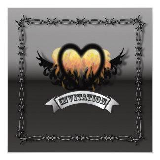 "Flames Heart RockNRoll Biker Wedding Invitation 5.25"" Square Invitation Card"