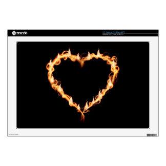 "FLAMES HEAT black heart fire burning hot love 17"" Laptop Decals"