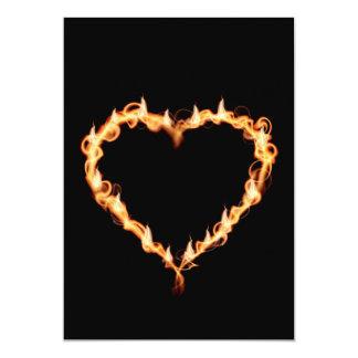 FLAMES HEAT black heart fire burning hot love 5x7 Paper Invitation Card