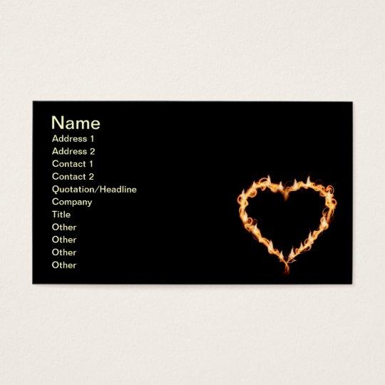 FLAMES HEAT black heart fire burning hot love Business Card