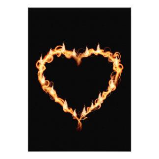 FLAMES HEAT black heart fire burning hot love Custom Invites