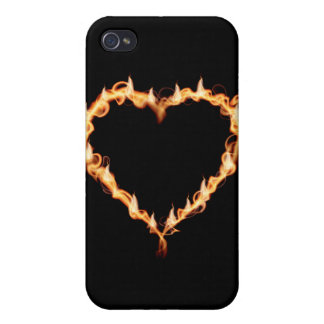 FLAMES HEAT black heart fire burning hot love Case For iPhone 4