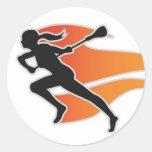 Flames Lacrosse Circle Sticker