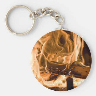Flames of Fire in a Fireplace Keychain