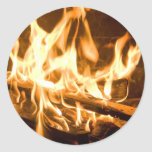 Flames of Fire Round Stickers