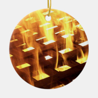 Flames of fire through a lattice photograph design christmas ornament