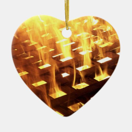 Flames of fire through a lattice photograph design Double-Sided heart ceramic christmas ornament