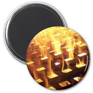 Flames of fire through a lattice photograph design fridge magnet