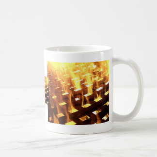 Flames of fire through a lattice photograph design mug