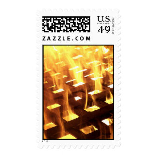 Flames of fire through a lattice photograph design postage stamps