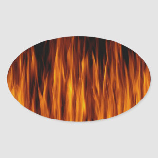 flames oval stickers
