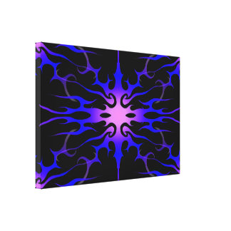 Flames Tribal Tattoo Purple and Blue Canvas Print