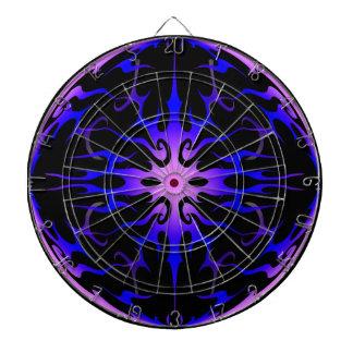Flames Tribal Tattoo Purple and Blue Dartboard