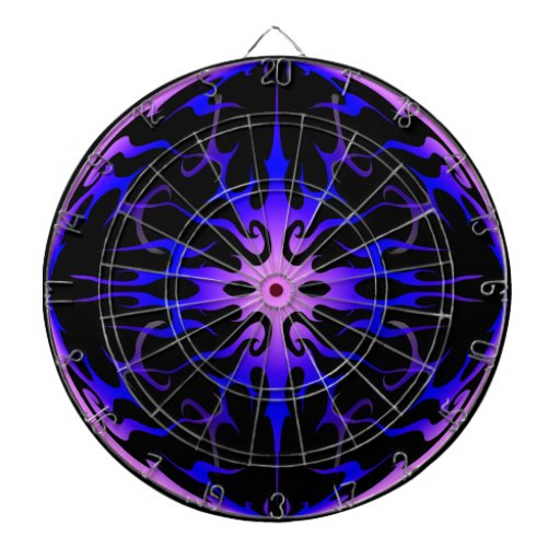 Flames Tribal Tattoo Purple and Blue Dartboard With Darts