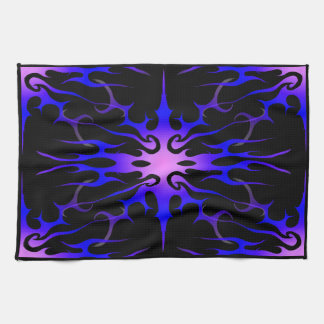 Flames Tribal Tattoo Purple and Blue Kitchen Towel