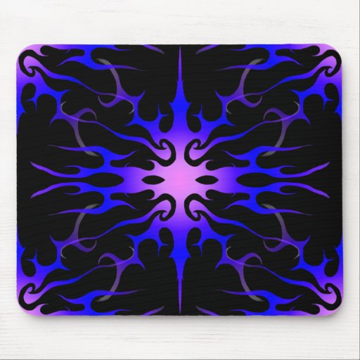 Flames Tribal Tattoo Purple and Blue Mouse Pads