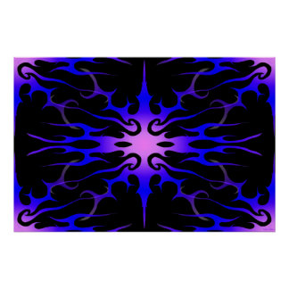 Flames Tribal Tattoo Purple and Blue Poster