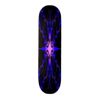 Flames Tribal Tattoo Purple and Blue skateboard