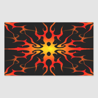 Flames Tribal Tattoo Red and Yellow Rectangular Sticker