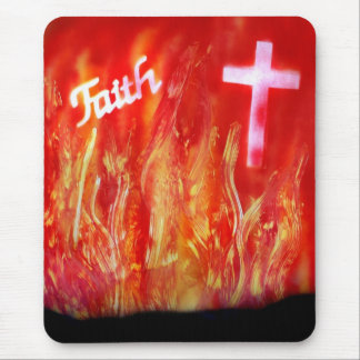 Flames with Faith and Cross Spray Painting 2 Mouse Pad
