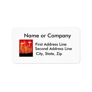 Flames with Faith and Cross Spray Painting Custom Address Labels