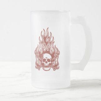 Flameskull -red frosted glass beer mug