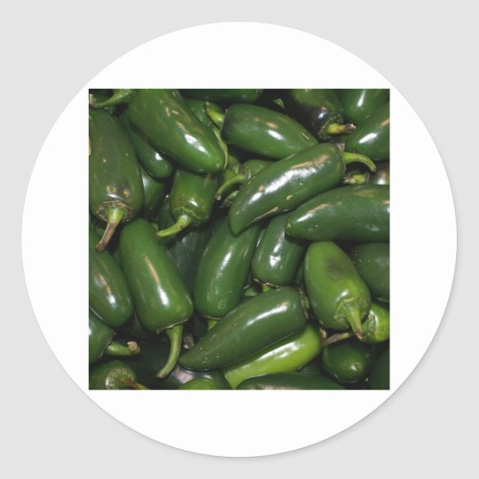 Flamin' Hot Green Jalepeno Peppers Art Classic Round Sticker