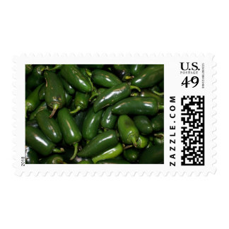 Flamin' Hot Green Jalepeno Peppers Art Postage Stamp